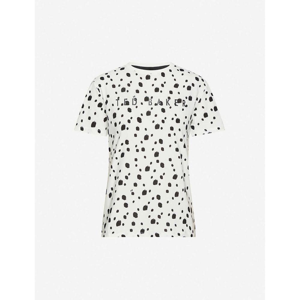 テッドベーカー TED BAKER レディース Tシャツ トップス【Branded polka-dot cotton T-shirt】WHITE