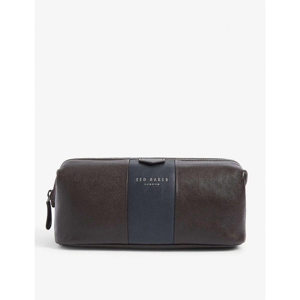 テッドベーカー TED BAKER メンズ ポーチ トラベルポーチ【Colour-block leather wash bag】XBRNCHOCOL