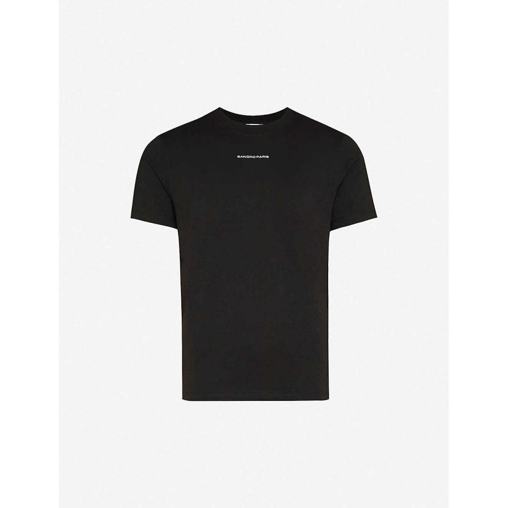 サンドロ SANDRO メンズ Tシャツ トップス【Solid regular-fit cotton-jersey T-shirt】BLACK