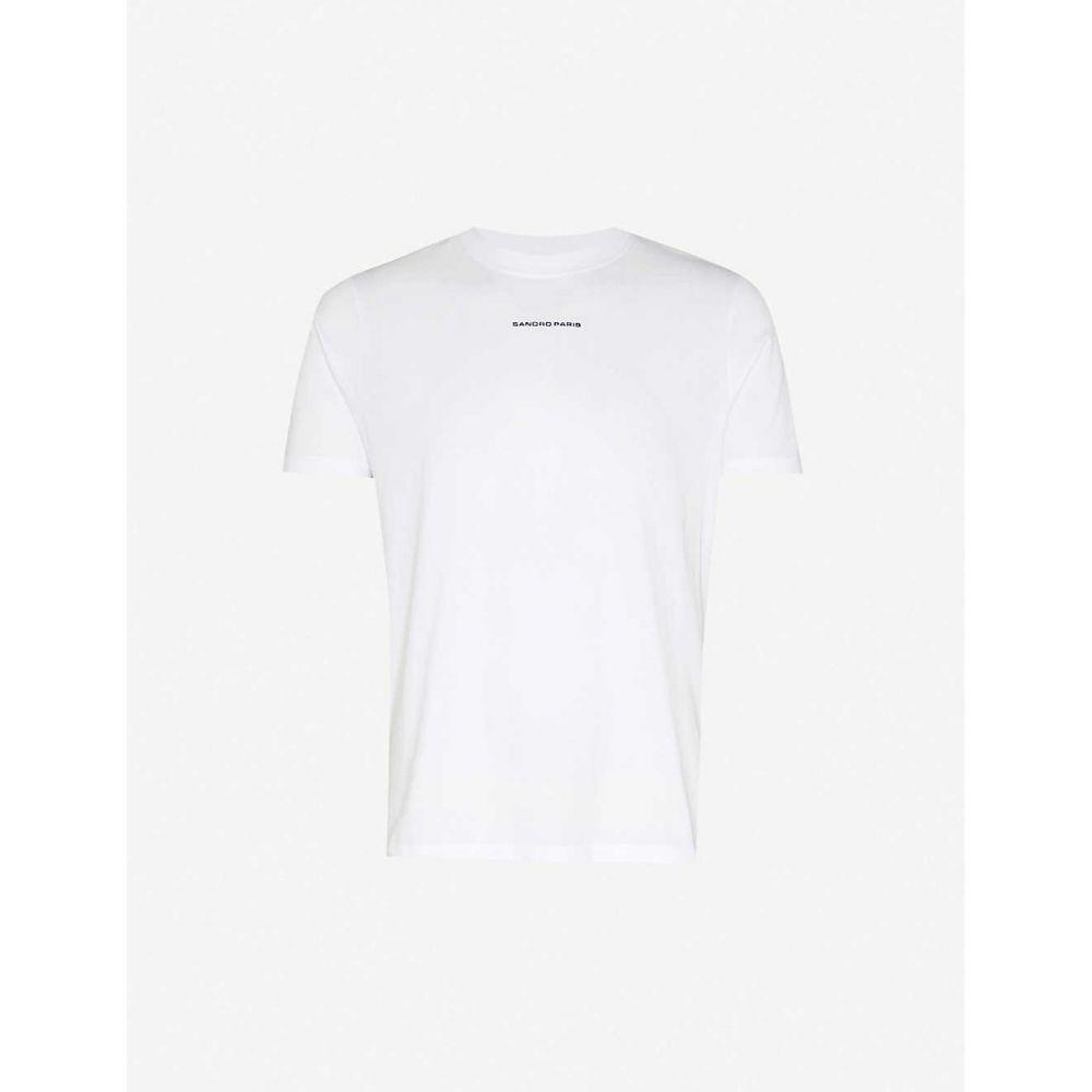 サンドロ SANDRO メンズ Tシャツ トップス【Solid regular-fit cotton-jersey T-shirt】WHITE