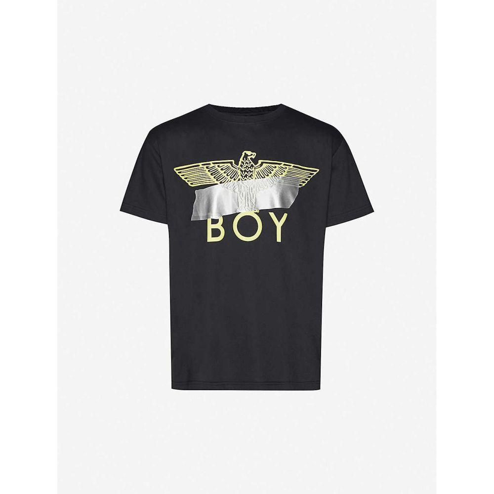 ボーイロンドン BOY LONDON メンズ Tシャツ トップス【Logo-print stretch-cotton T-shirt】Black Neon