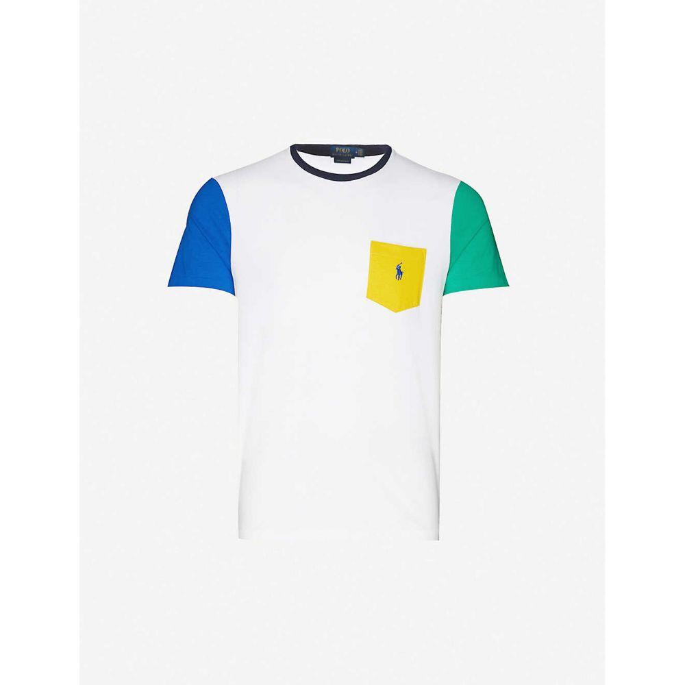 ラルフ ローレン POLO RALPH LAUREN メンズ Tシャツ トップス【Colour-block cotton-jersey T-shirt】White Multi