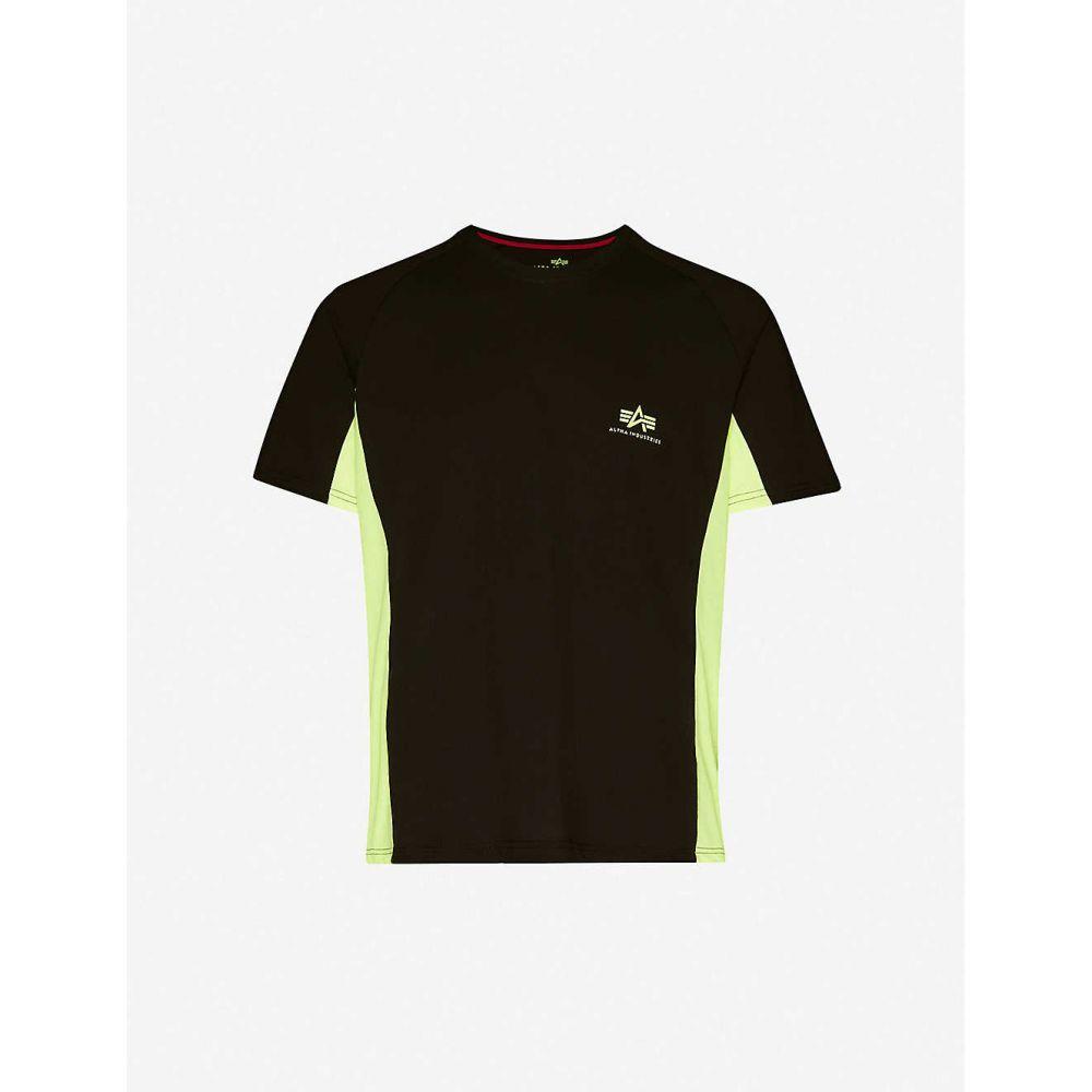 アルファ インダストリーズ ALPHA INDUSTRIES メンズ Tシャツ トップス【Contrast-stripe logo-print cotton-blend jersey T-shirt】BLACK