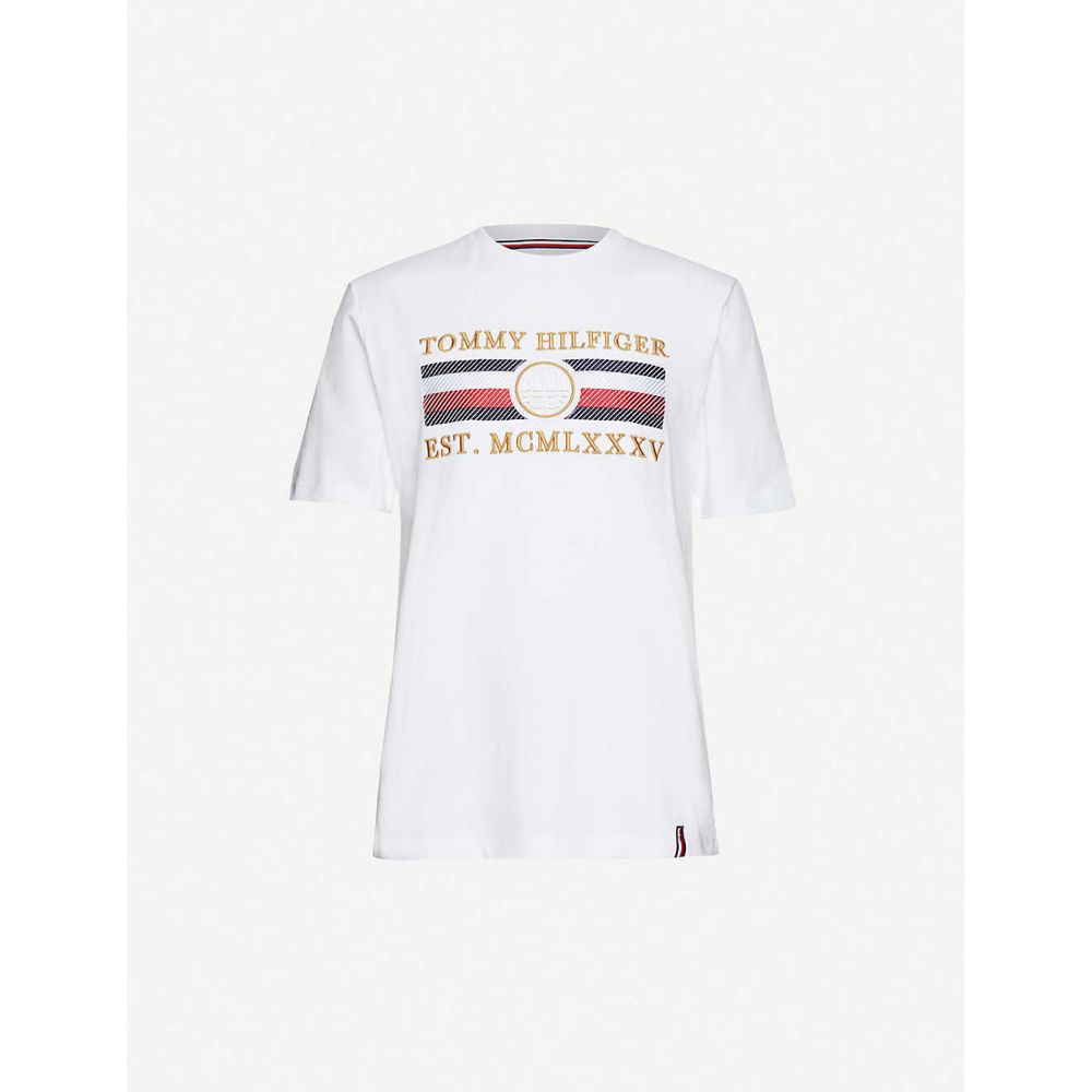 トミー ヒルフィガー TOMMY HILFIGER メンズ Tシャツ トップス【Icon brand-embroidered cotton-jersey T-shirt】White