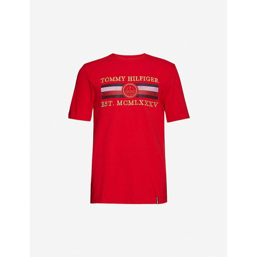 トミー ヒルフィガー TOMMY HILFIGER メンズ Tシャツ トップス【Icon brand-embroidered cotton-jersey T-shirt】Primary Red