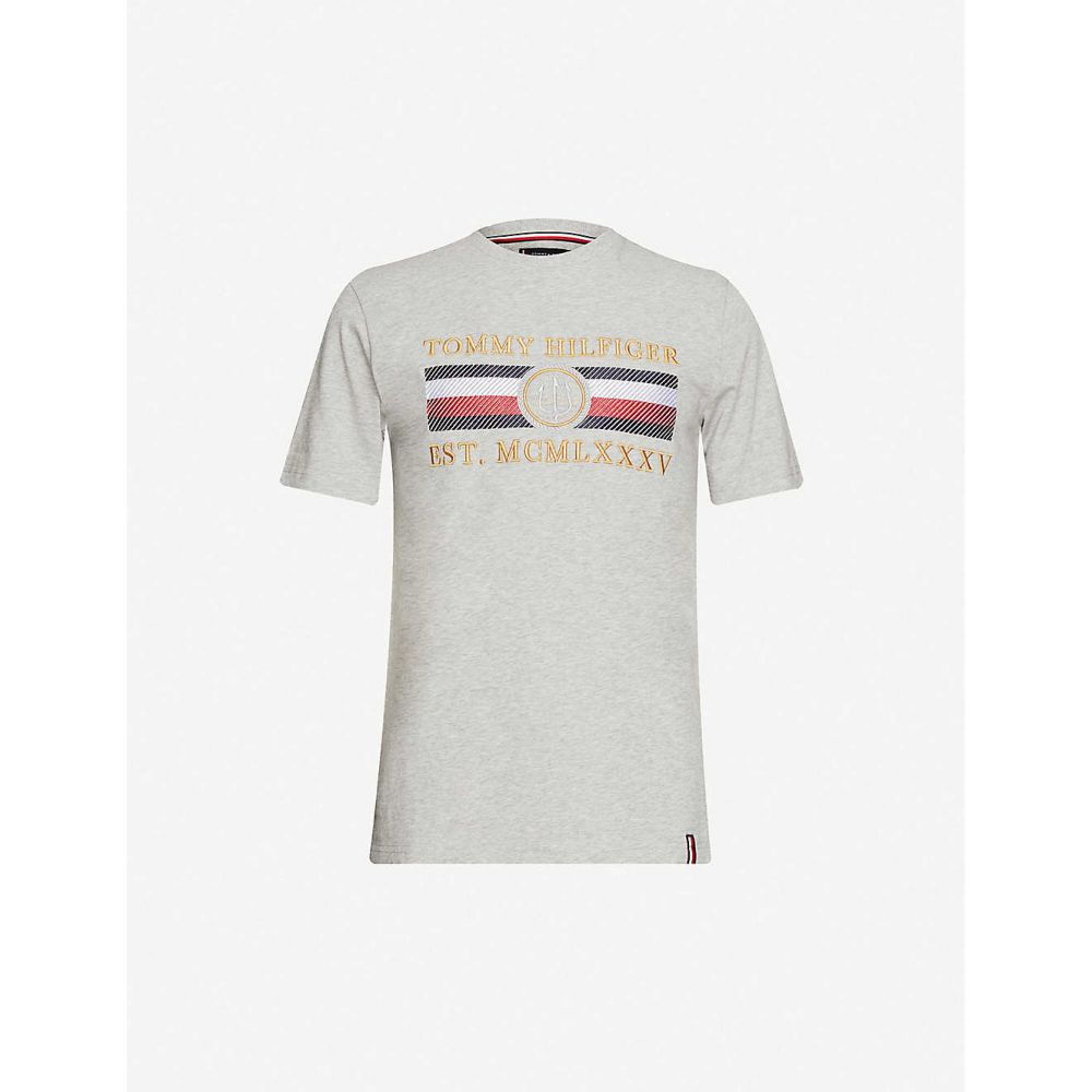 トミー ヒルフィガー TOMMY HILFIGER メンズ Tシャツ トップス【Icon brand-embroidered cotton-jersey T-shirt】Medium Grey Heather
