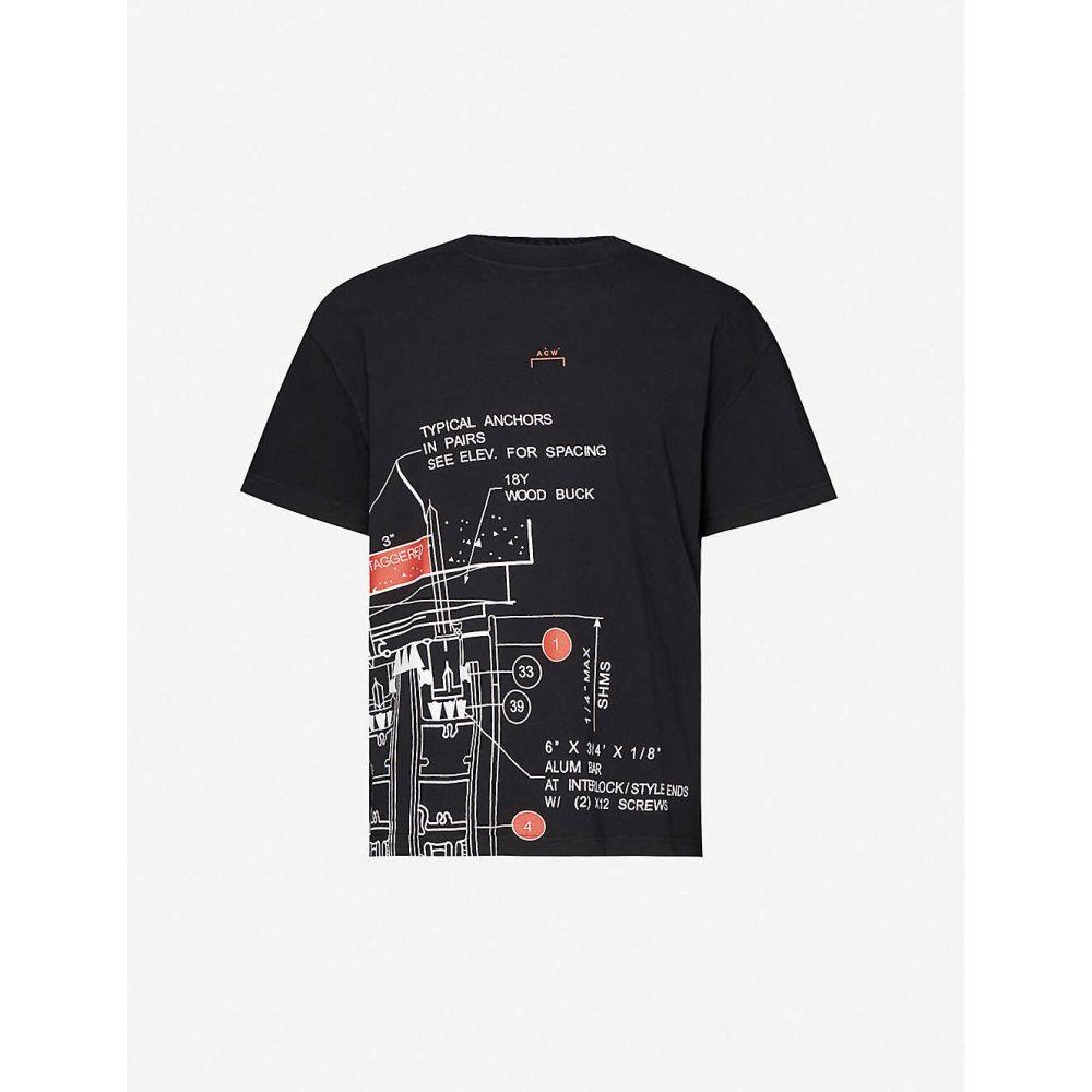 アコールドウォール A-COLD-WALL メンズ Tシャツ トップス【Blueprint-print cotton-jersey T-shirt】BLACK