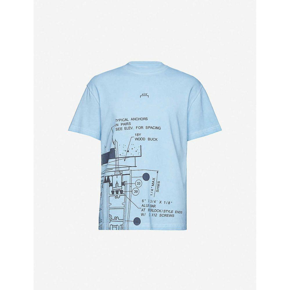 アコールドウォール A-COLD-WALL メンズ Tシャツ トップス【Blueprint-print cotton-jersey T-shirt】Niagra