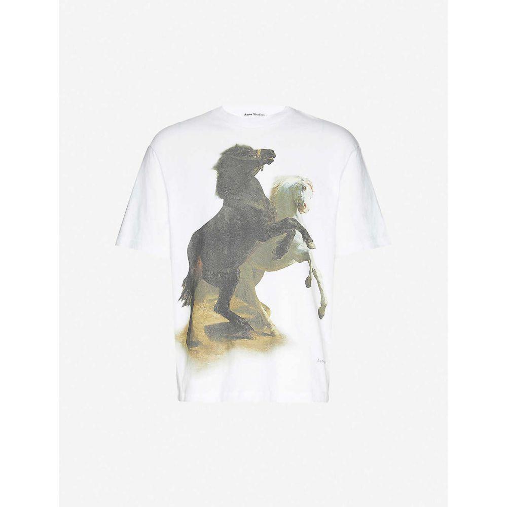 アクネ ストゥディオズ ACNE STUDIOS メンズ Tシャツ トップス【Horse-print cotton-jersey T-shirt】Optic White