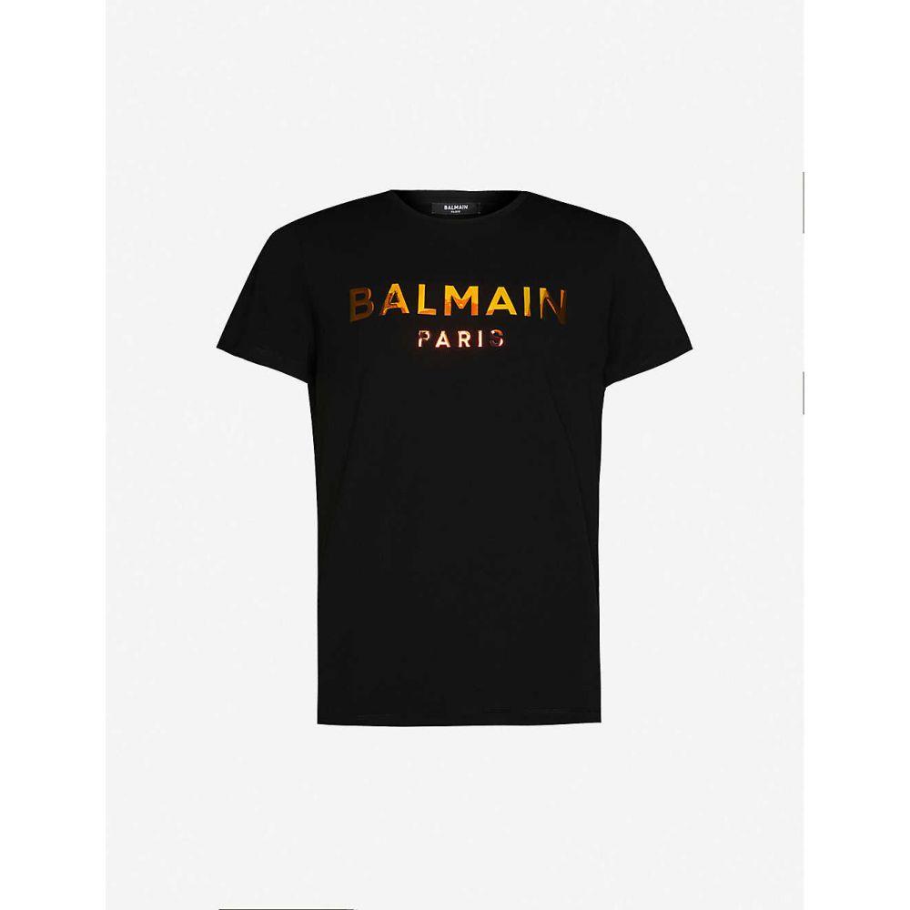 バルマン BALMAIN メンズ Tシャツ トップス【Holographic logo-print cotton-jersey T-shirt】Noir