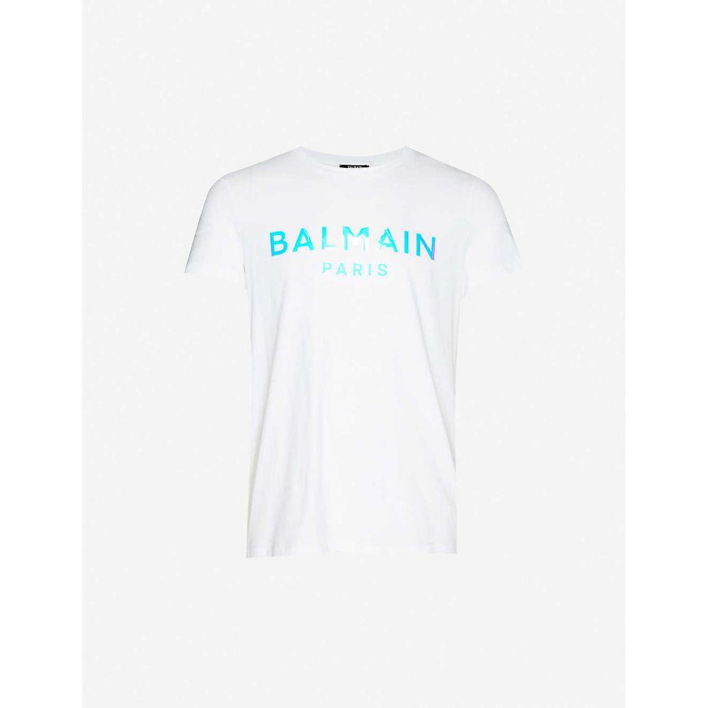 バルマン BALMAIN メンズ Tシャツ トップス【Holographic logo-print cotton-jersey T-shirt】BLANC
