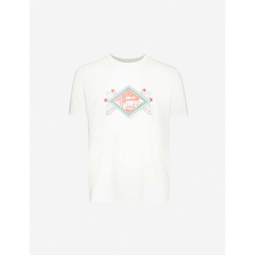 イヴ サンローラン SAINT LAURENT メンズ Tシャツ トップス【Graphic-print cotton-jersey T-shirt】Dirty Ecru Rouge