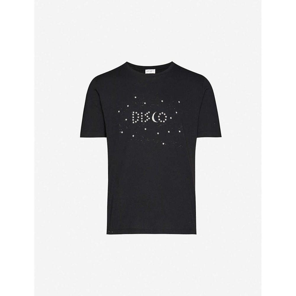 イヴ サンローラン SAINT LAURENT メンズ Tシャツ トップス【Graphic-print cotton-jersey T-shirt】BLACK