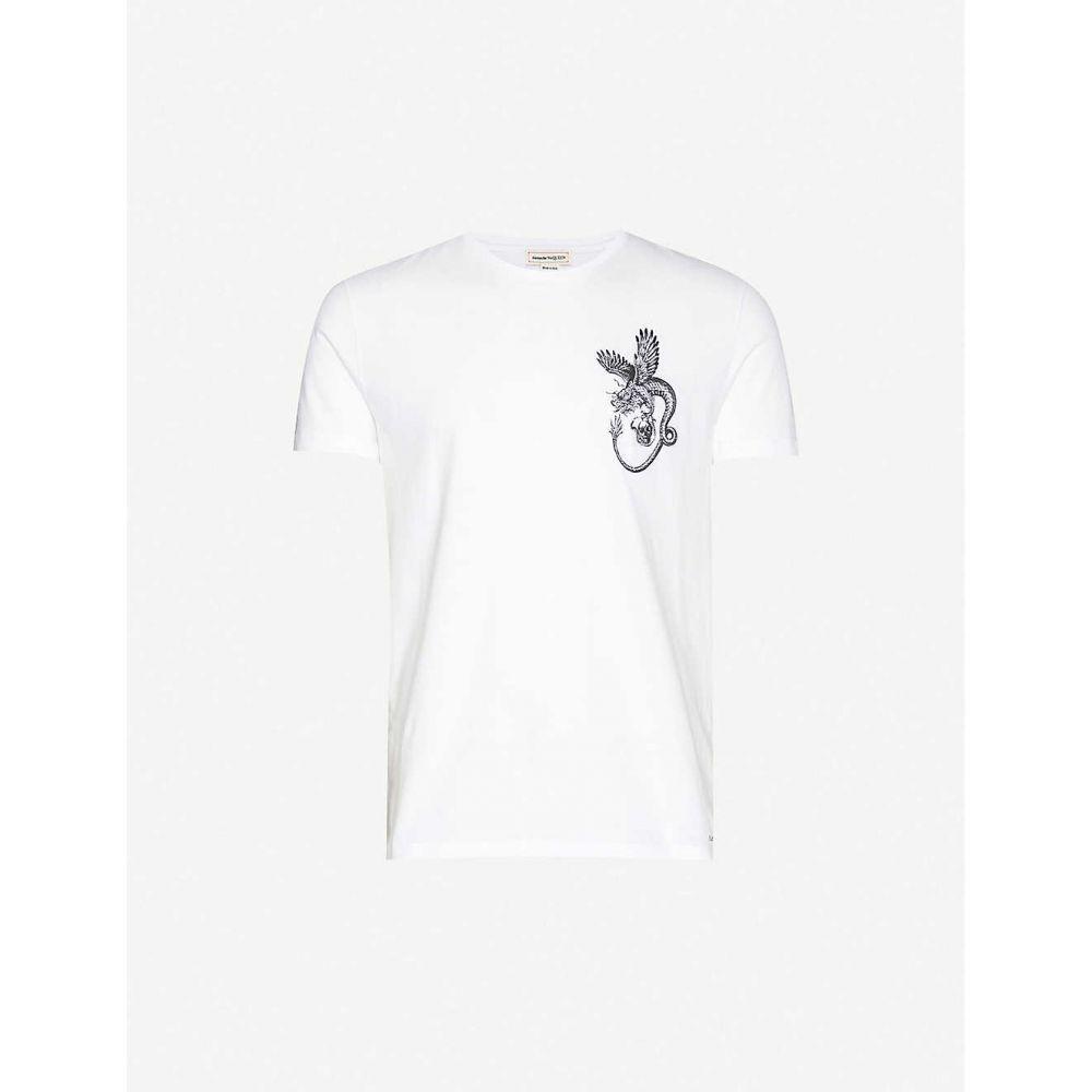 アレキサンダー マックイーン ALEXANDER MCQUEEN メンズ Tシャツ トップス【Graphic-print cotton-jersey T-shirt】White Mix