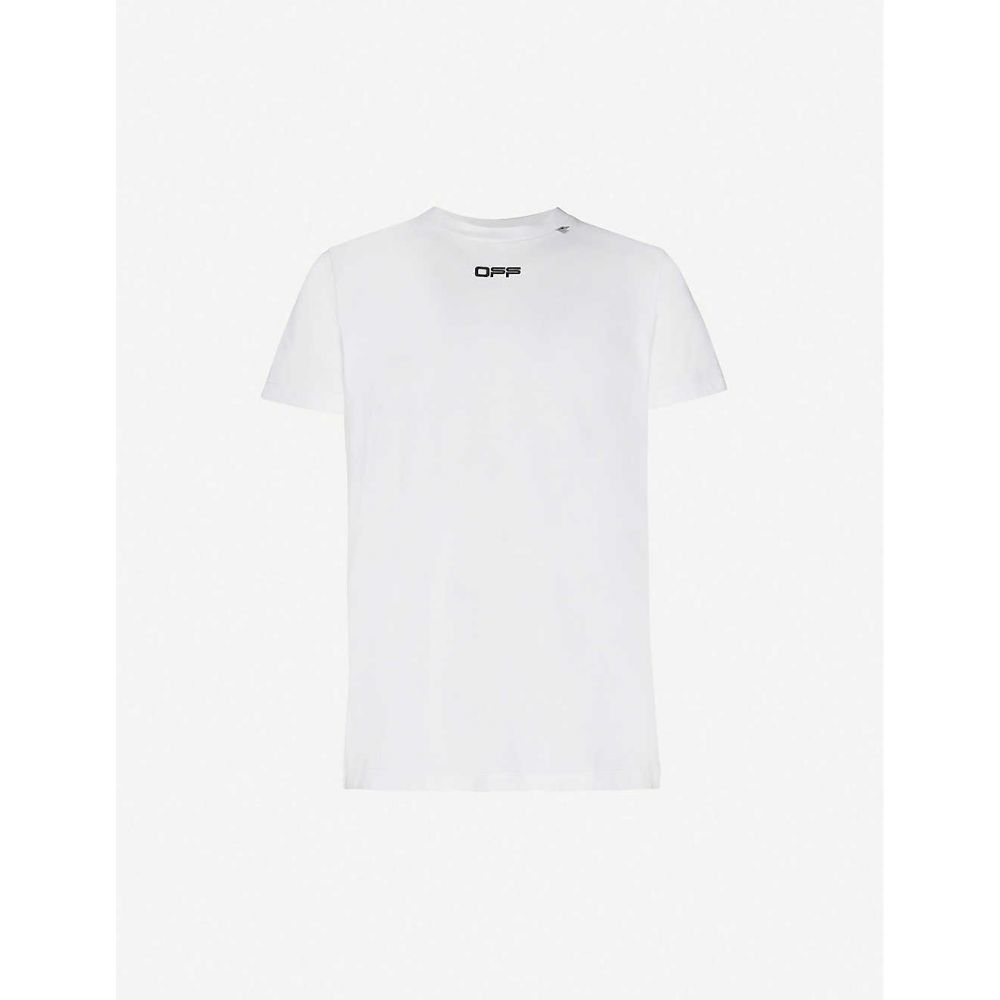 オフホワイト OFF-WHITE C/O VIRGIL ABLOH メンズ Tシャツ トップス【Caravaggio Arrows cotton-jersey slim T-shirt】White Mult