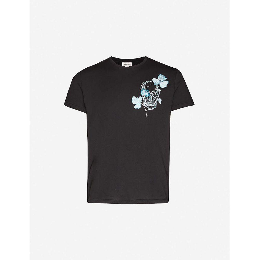 アレキサンダー マックイーン ALEXANDER MCQUEEN メンズ Tシャツ トップス【Embroidered-skull crewneck cotton-jersey T-shirt】BLACK MIX