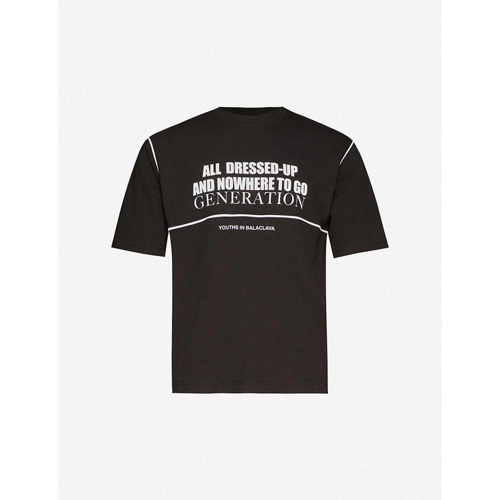 ユース イン バラクラバ YOUTHS IN BALACLAVA メンズ Tシャツ トップス【All Dressed Up printed cotton-jersey T-shirt】BLACK