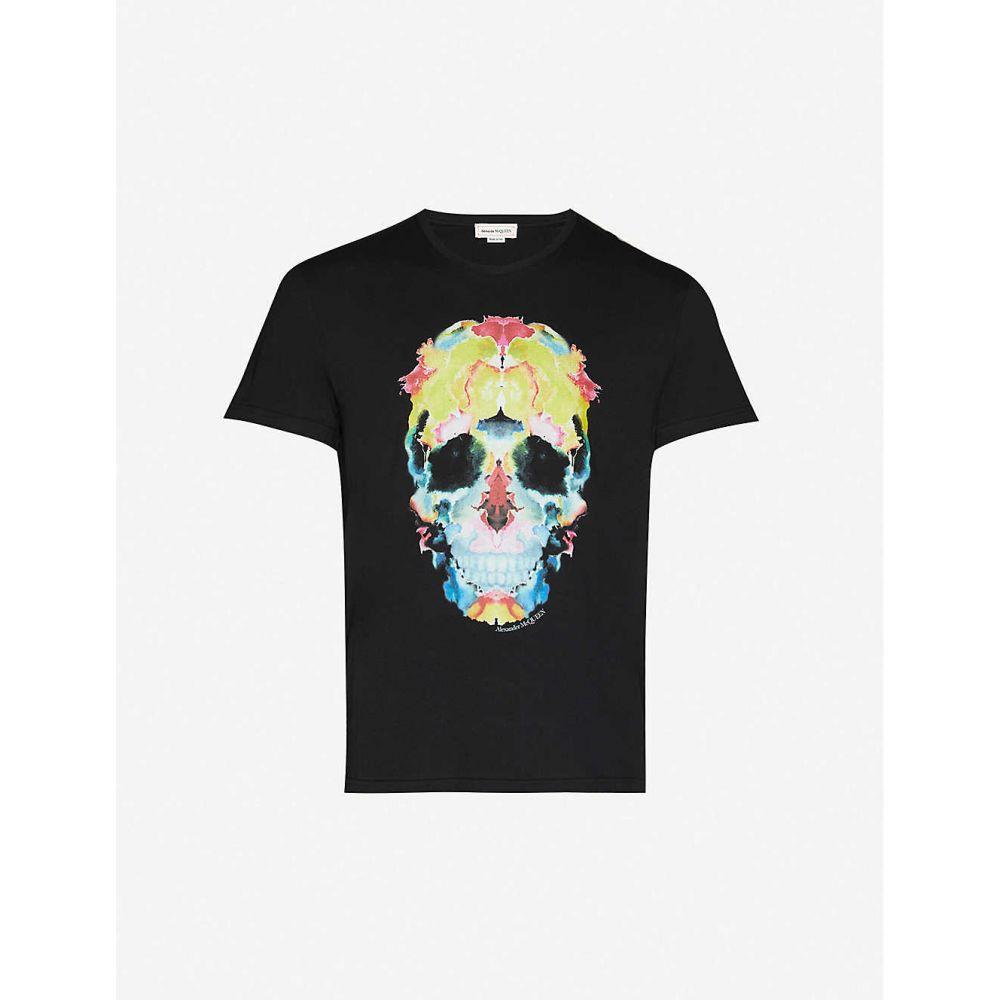 アレキサンダー マックイーン ALEXANDER MCQUEEN メンズ Tシャツ トップス【Watercolour graphic-print cotton-jersey T-shirt】BLACK MIX