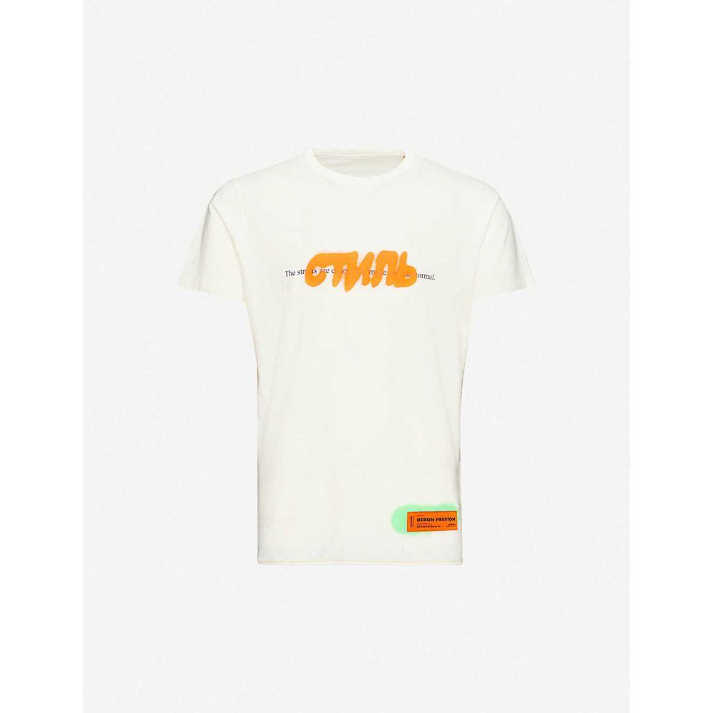 ヘロン プレストン HERON PRESTON メンズ Tシャツ トップス【Graphic-print cotton-jersey T-shirt】White Multi