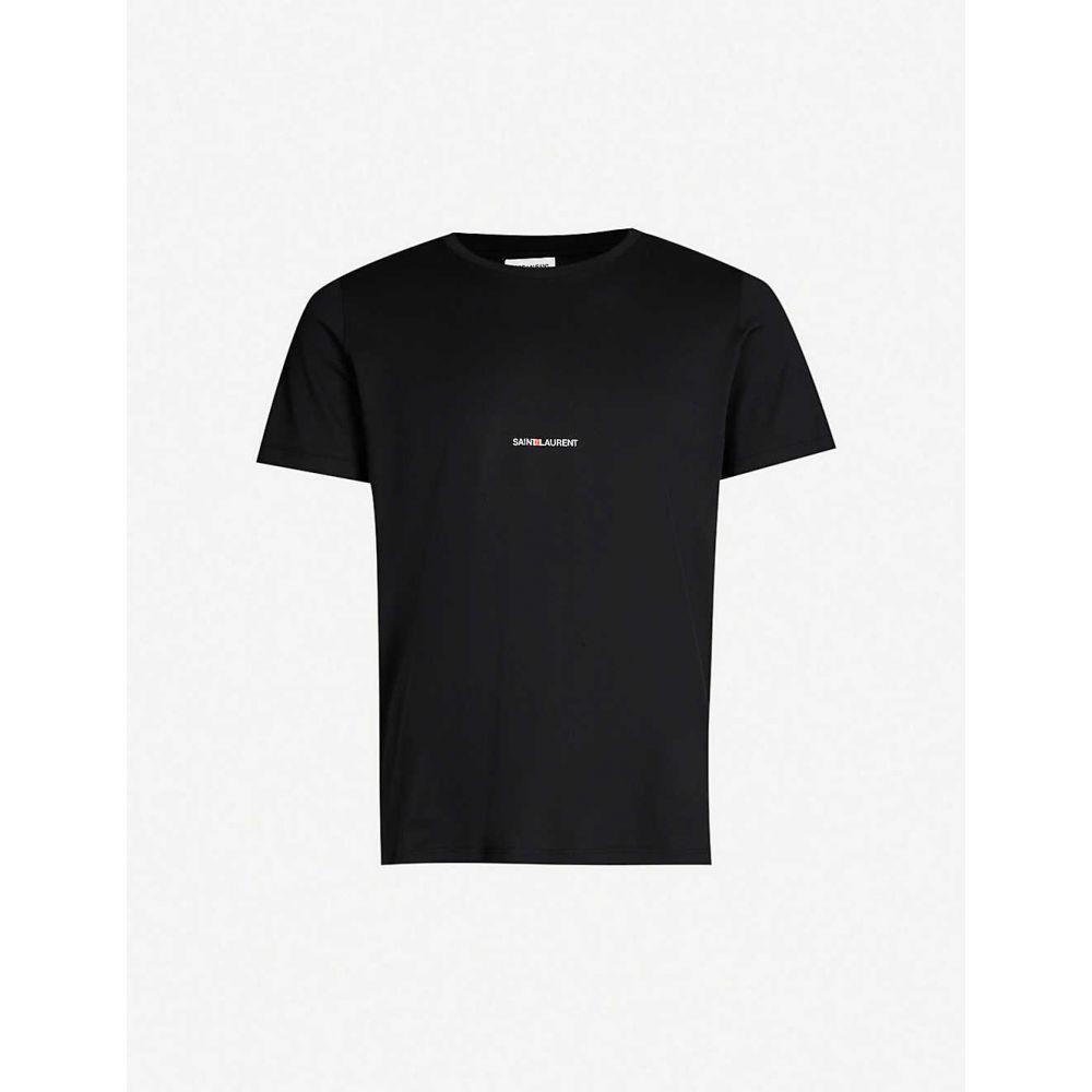 イヴ サンローラン SAINT LAURENT メンズ Tシャツ トップス【Logo-print cotton T-shirt】BLACK