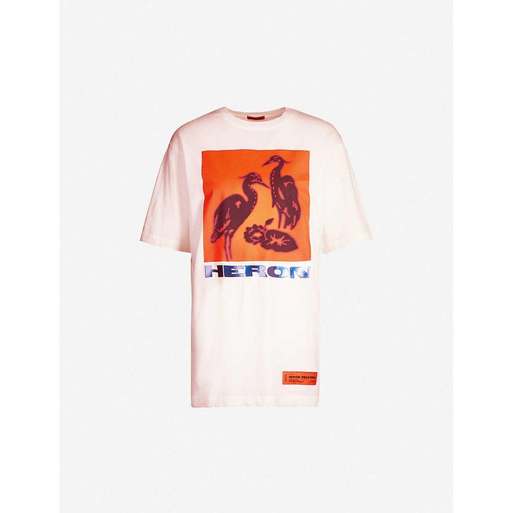ヘロン プレストン HERON PRESTON メンズ Tシャツ トップス【Heron-print cotton-jersey T-shirt】WHITE