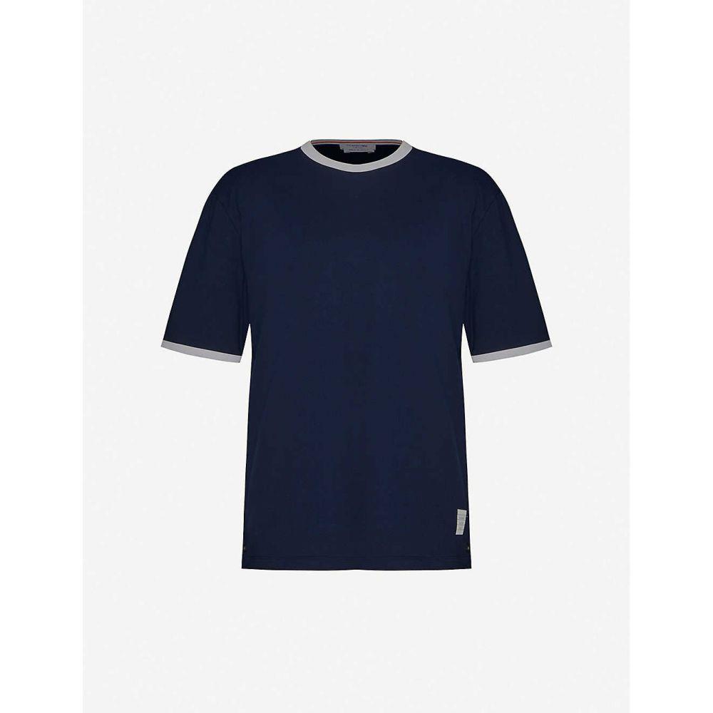 トム ブラウン THOM BROWNE メンズ Tシャツ トップス【Ringer crewneck cotton-jersey T-shirt】NAVY