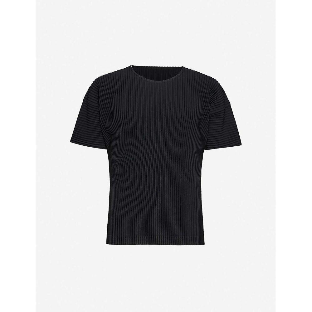 イッセイ ミヤケ HOMME PLISSE ISSEY MIYAKE メンズ Tシャツ トップス【Pleated woven short-sleeve T-shirt】BLACK
