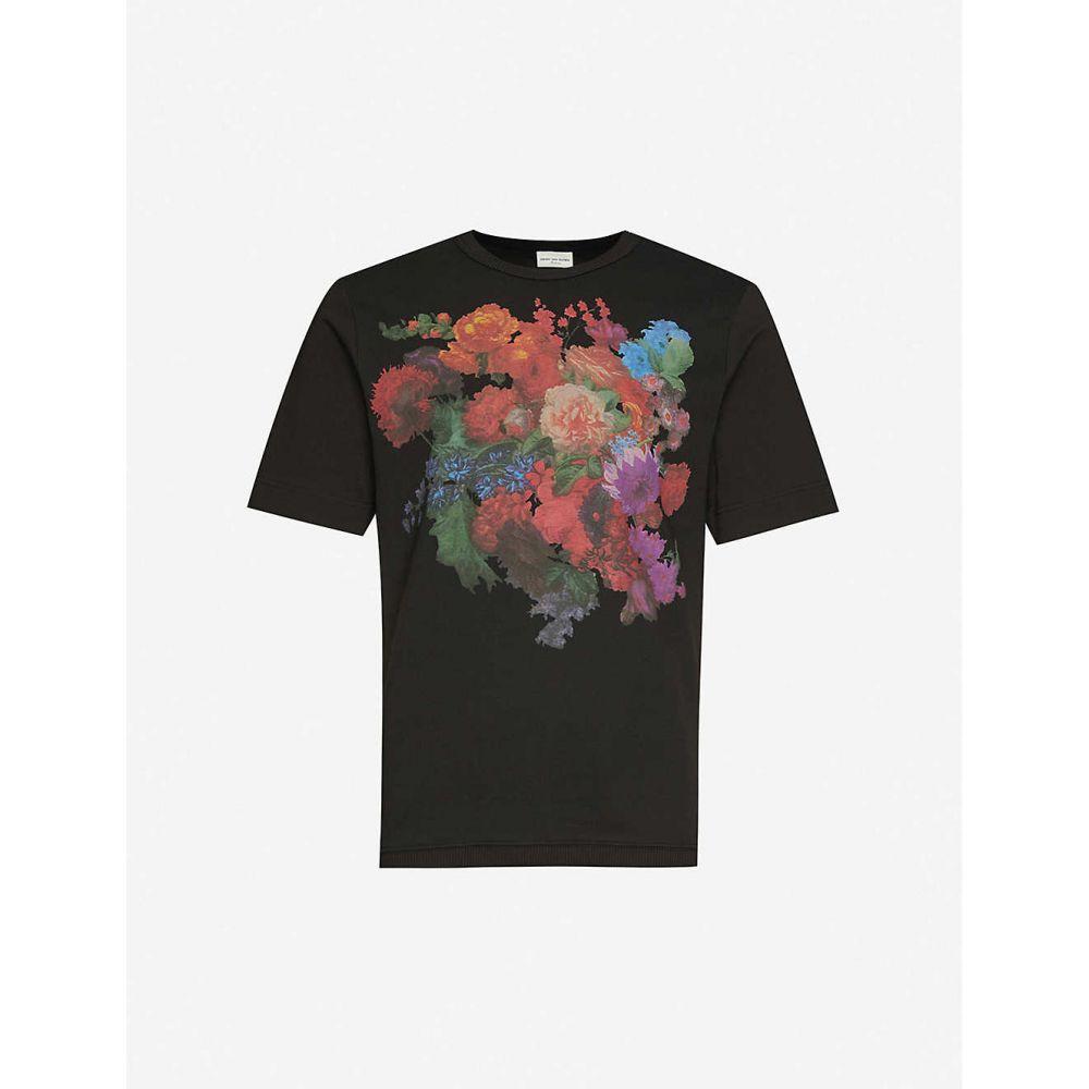 ドリス ヴァン ノッテン DRIES VAN NOTEN メンズ Tシャツ トップス【Floral-print cotton T-shirt】BLACK
