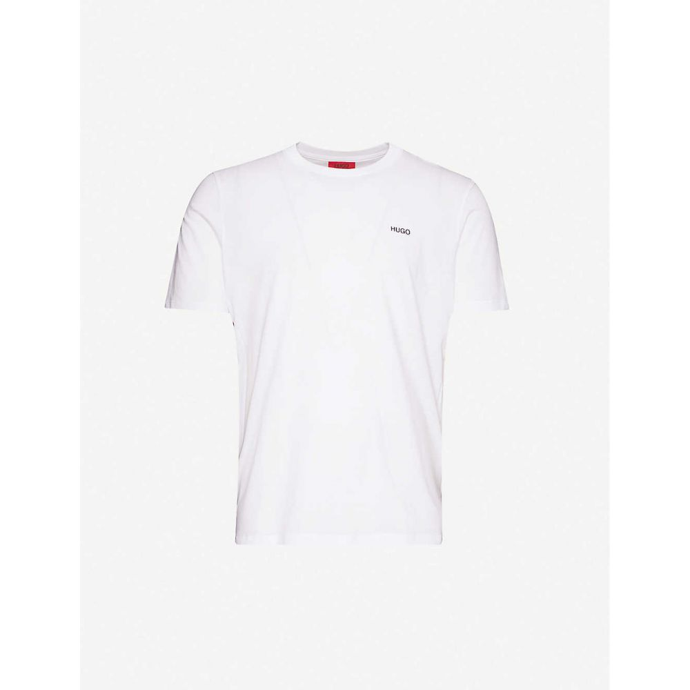 ヒューゴ ボス HUGO メンズ Tシャツ トップス【Logo-embroidered cotton-jersey T-shirt】White