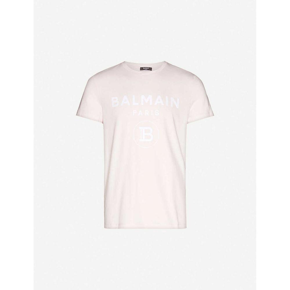 バルマン BALMAIN メンズ Tシャツ トップス【Graphic-print cotton-jersey T-shirt】Rose/blanc