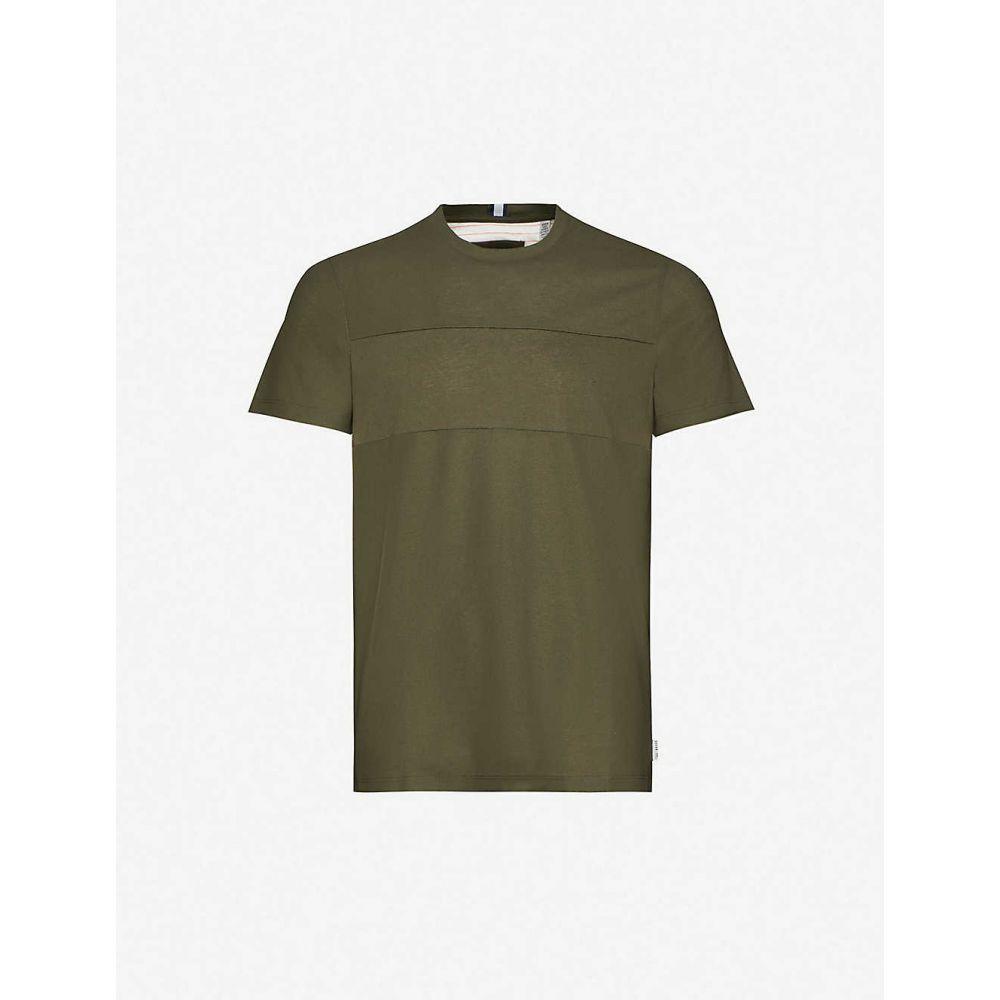 テッドベーカー TED BAKER メンズ Tシャツ トップス【Pique-panel cotton-jersey T-shirt】KHAKI