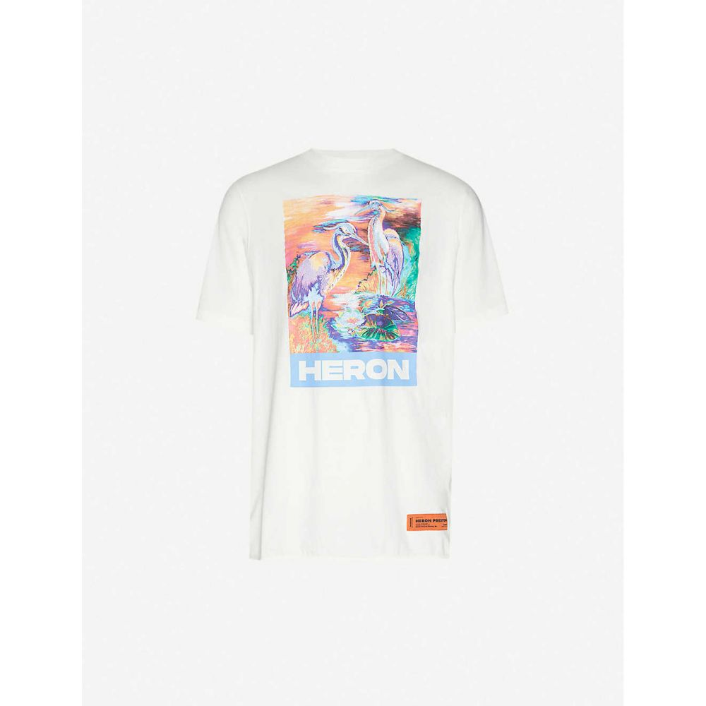 ヘロン プレストン HERON PRESTON メンズ Tシャツ トップス【Heron-print cotton-jersey T-shirt】White Multi
