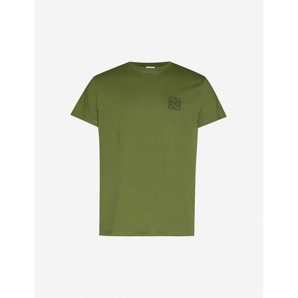 ロエベ LOEWE メンズ Tシャツ トップス【Logo-embroidered cotton-jersey T-shirt】Khaki Green