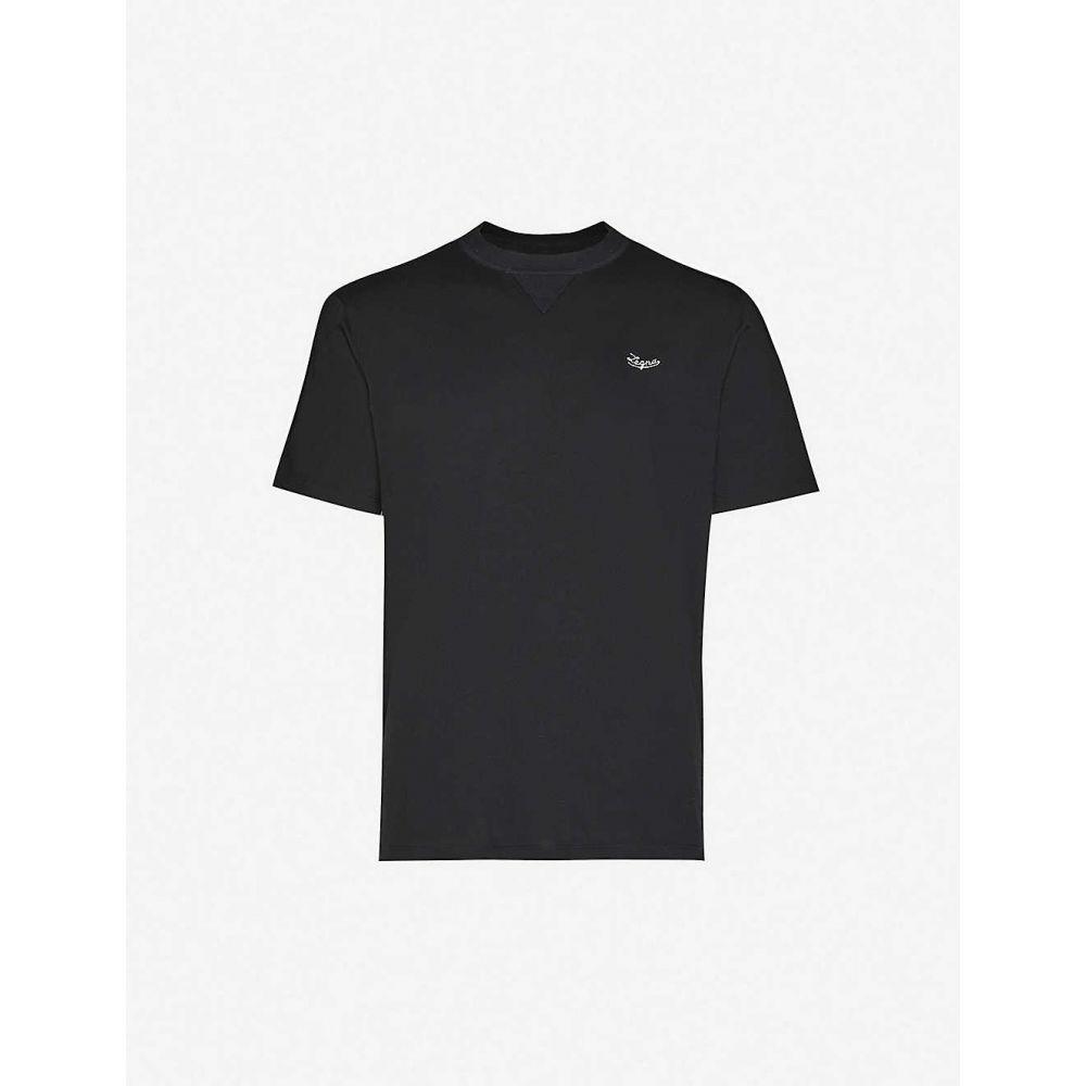 エルメネジルド ゼニア ERMENEGILDO ZEGNA メンズ Tシャツ トップス【Logo-embroidered cotton-jersey T-shirt】BLACK