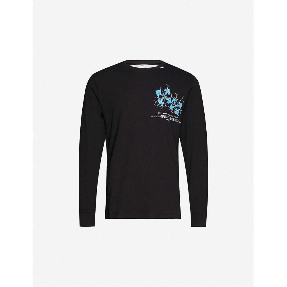 オフホワイト OFF-WHITE C/O VIRGIL ABLOH メンズ Tシャツ トップス【Fence Arrow graphic-print cotton-jersey T-shirt】BLACK BLUE