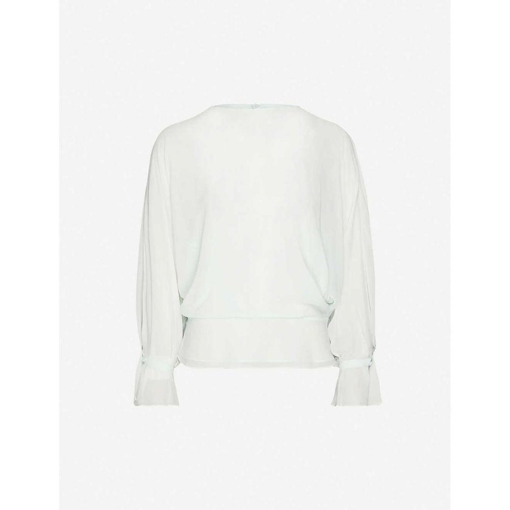リース REISS レディース ブラウス・シャツ トップス【Eboni crepe sheer-sleeve blouse】TURQUOISE