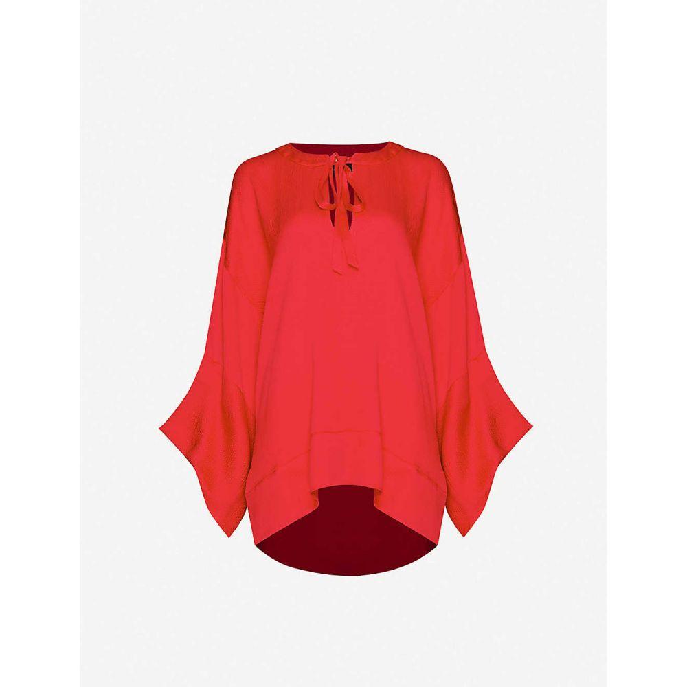 ローラン ムレ ROLAND MOURET レディース ブラウス・シャツ トップス【Ciro flared silk-satin blouse】CRIMSON