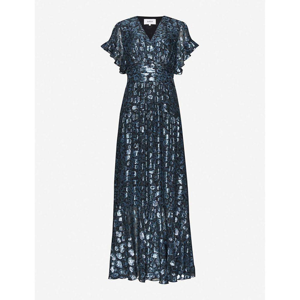 バッシュ BA&SH レディース パーティードレス ワンピース・ドレス【Gemma metallic leopard-print silk-blend dress】DARK BLUE