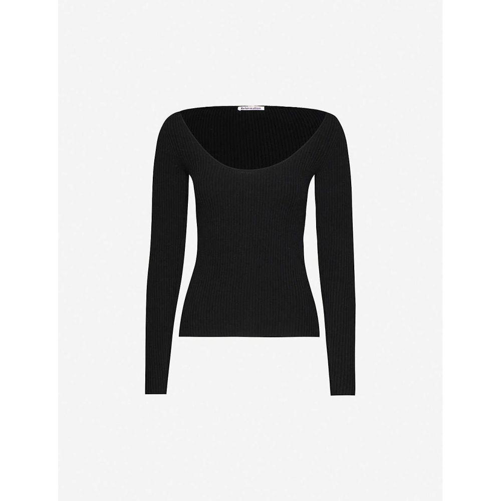 リフォーメーション REFORMATION レディース ニット・セーター トップス【Mia recycled cashmere and wool-blend jumper】BLACK