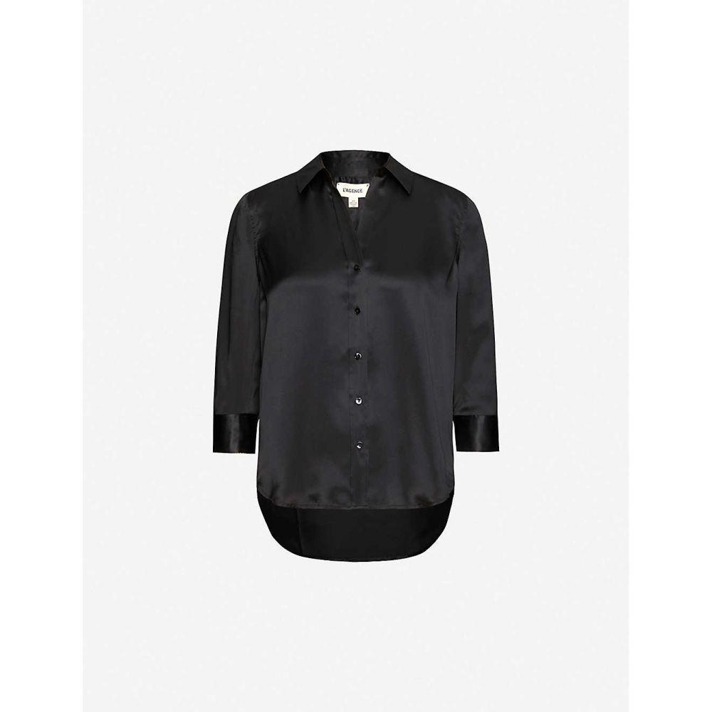 ラジャンス L'AGENCE レディース ブラウス・シャツ トップス【Dani relaxed-fit silk-crepe shirt】BLACK