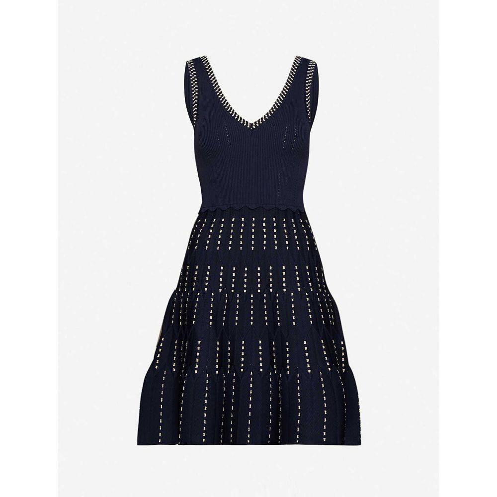 サンドロ SANDRO レディース パーティードレス ミニ丈 ワンピース・ドレス【Jasmine stretch-ponte mini dress】NAVY BLUE