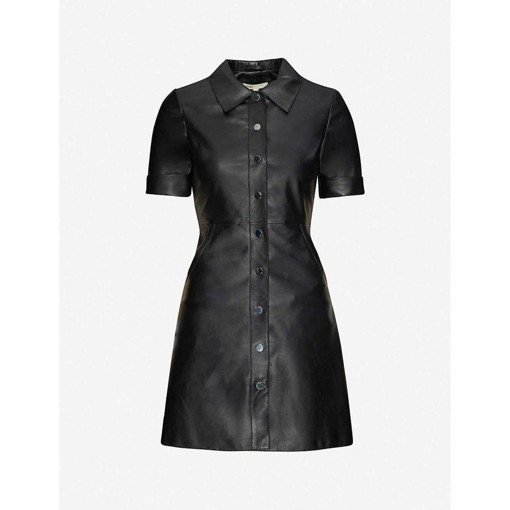マージュ MAJE レディース ワンピース ミニ丈 ワンピース・ドレス【Collared leather mini dress】BLACK