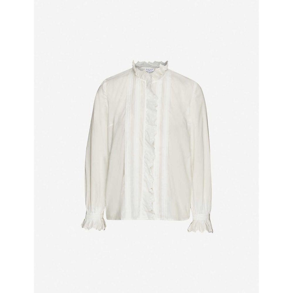 クローディ ピエルロ CLAUDIE PIERLOT レディース ブラウス・シャツ トップス【Ruffled-trim cotton shirt】ECRU