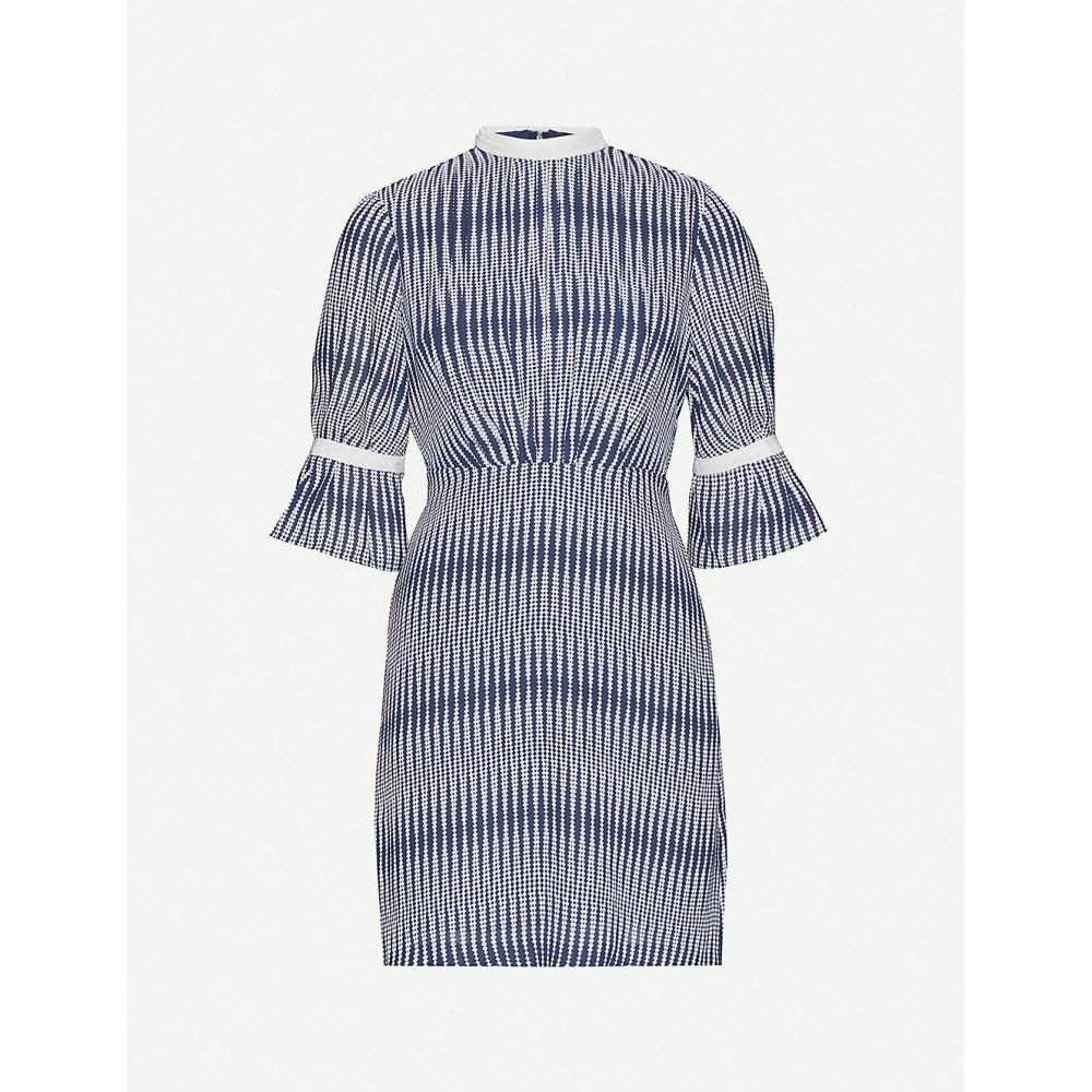 リース REISS レディース ワンピース ワンピース・ドレス【Nika zig-zag print crepe dress】NAVY