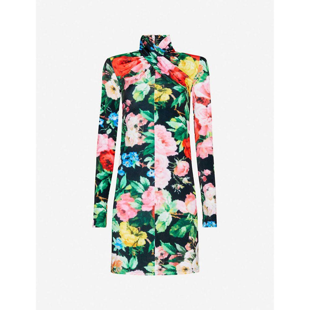 リチャード クイン RICHARD QUINN レディース ワンピース ミニ丈 ワンピース・ドレス【Floral-print velvet mini dress】Lowry Black
