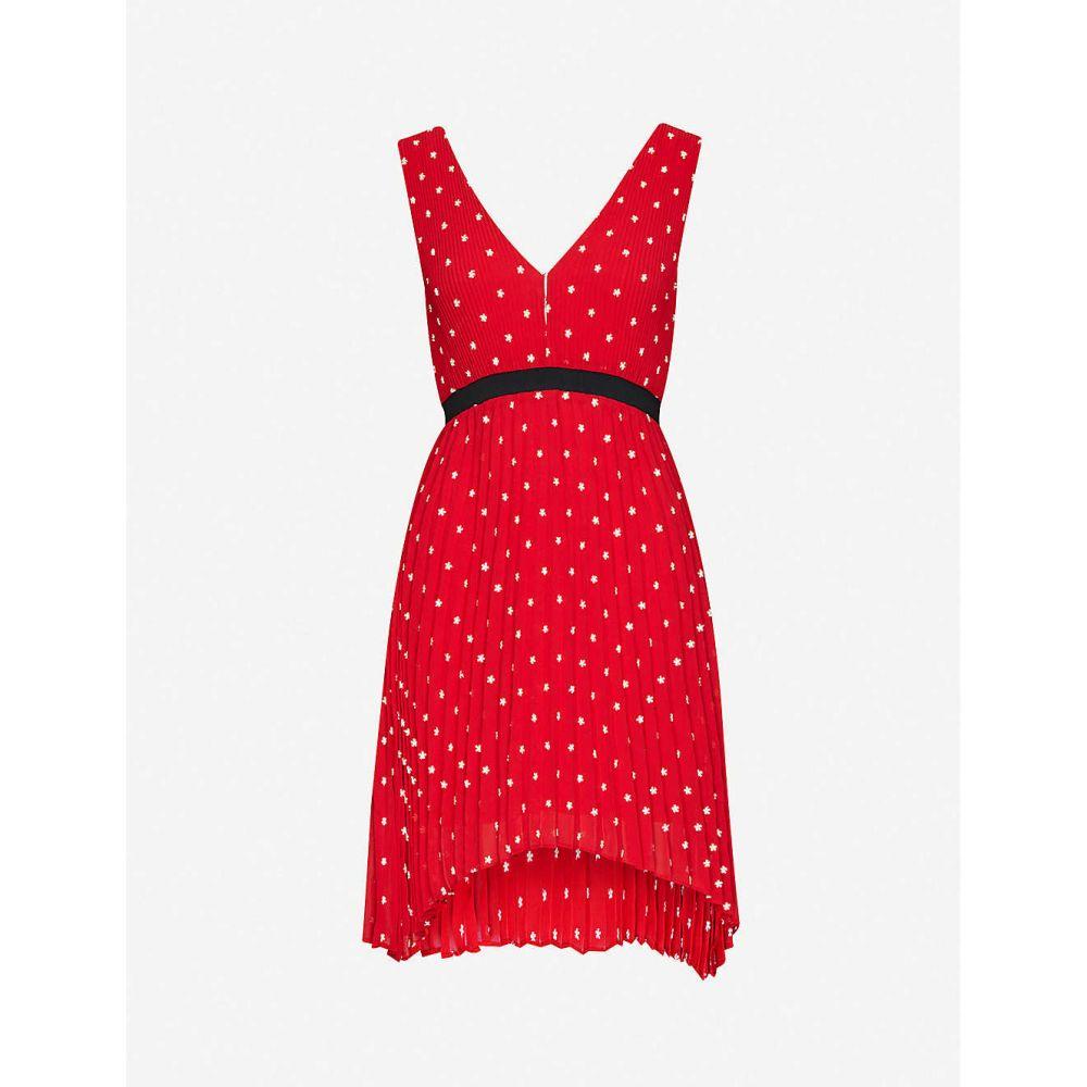マージュ MAJE レディース ワンピース ミニ丈 ワンピース・ドレス【Relina flower-embroidered pleated mini dress】RED