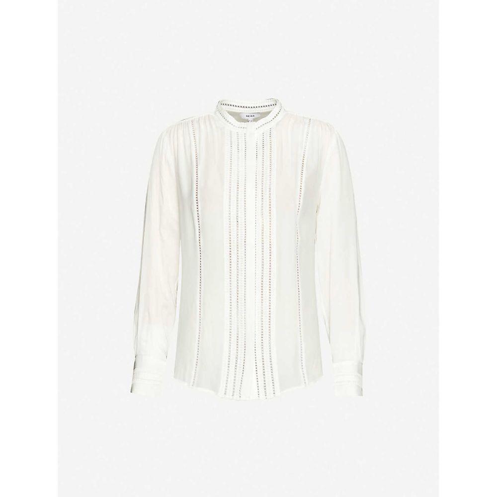 リース REISS レディース ブラウス・シャツ トップス【Evelyna ladder stitching crepe shirt】WHITE