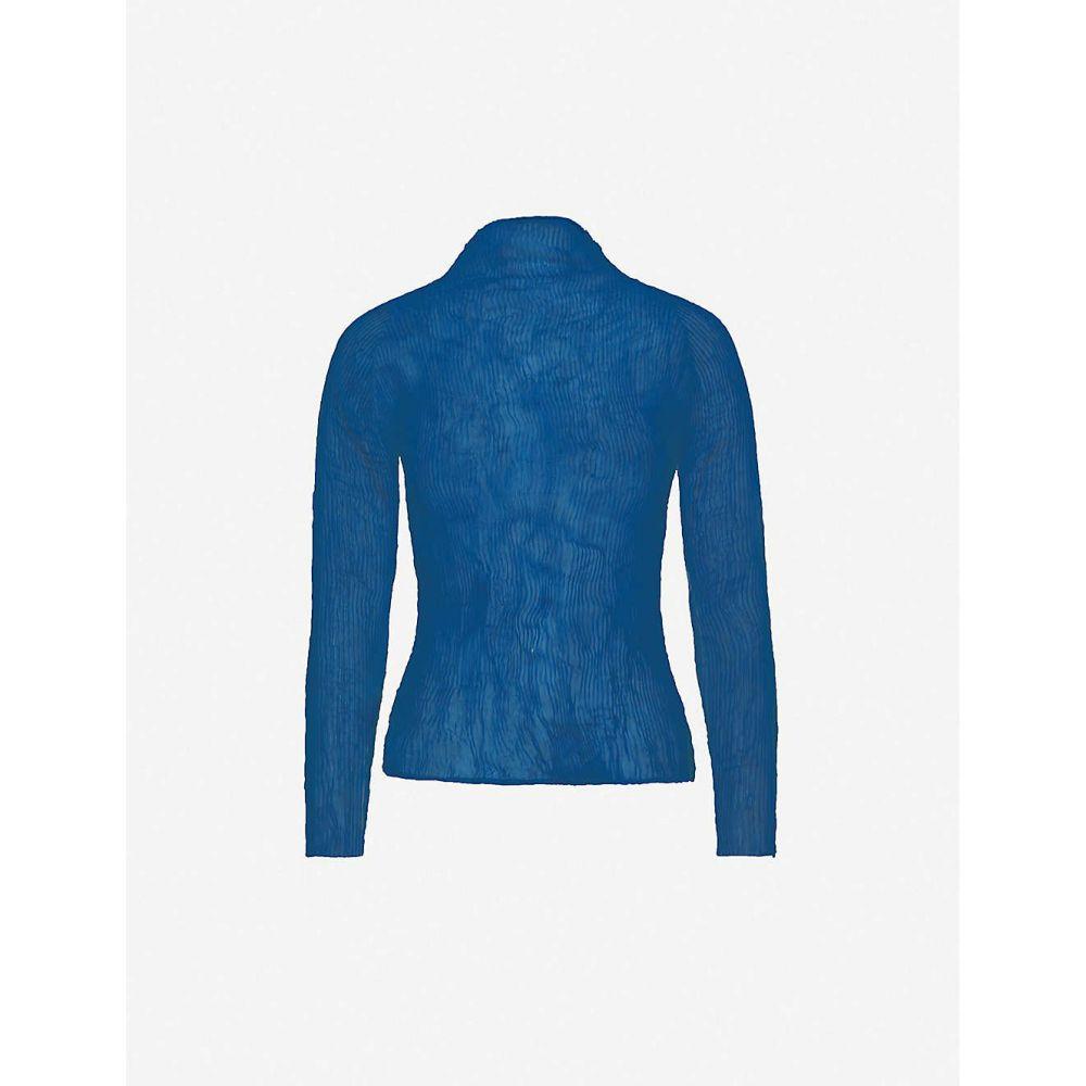 イッセイ ミヤケ ISSEY MIYAKE レディース トップス 【Turtleneck semi-sheer textured woven top】NAVY