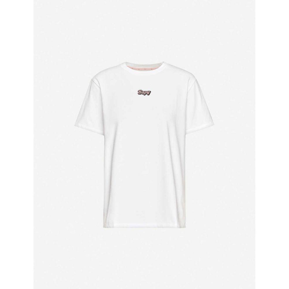 ベイピー バイ ア ベイシング エイプ BAPY レディース Tシャツ トップス【Text-print cotton-jersey T-shirt】WHITE