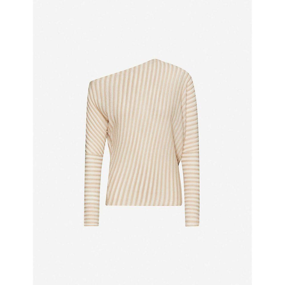 リース REISS レディース オフショルダー トップス【Soffie striped stretch-knit jumper】NUDE